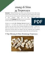 5 Tips Menang Di Situs Dominoqq Terpercaya