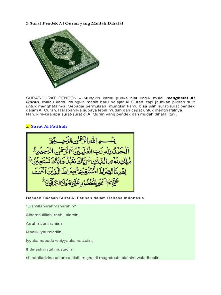 5 Surat Pendek Al Quran Yang Mudah Dihafal