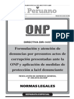 Directiva para la formulación y atención de Denuncias por Presuntos Actos de Corrupción presentadas ante la ONP y aplicación de medidas de protección al denunciante