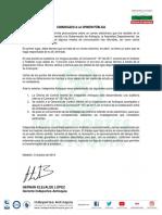 Indeportes Antioquia - Comunicado a La Opinión Pública