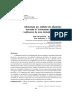 Eficiencia del sulfato de aluminio durante el tratamiento de aguas residuales de una industria avícola