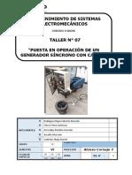 TALLER N°7 PUESTA EN OPERACIÓN DE UN GENERADOR SÍNCRONO CON CARGA.doc