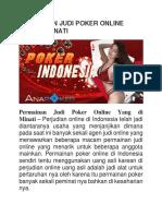 Permainan Judi Poker Online Yang Di Minati