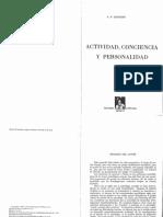 LEONTIEV Actividad Conciencia y Personalidad