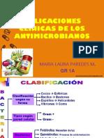 Aplicaciones Clinicas de Los Antimicrobianos MARIA LAURA PAREDES 1A
