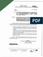 FDA Circular 2015-012 and FDA Circular 2013-014