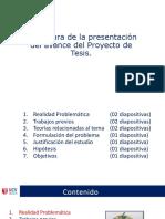 Estructura de La Presentación Del Avance Del Proyecto