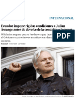 Ecuador Impone Rígidas Condiciones a Julian Assange Antes de Devolverle La Conexión a Internet _ Internacional _ EL PAÍS