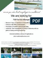Job Flyer - F&B Service Manager