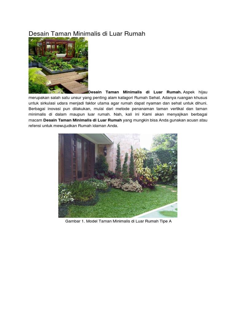 Desain Taman Minimalis Di Luar Rumah Docx