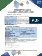 Guía de Actividades y Rúbrica de Evaluación - Fase 3 - Desarrollar Balances de Energía de Problemas Industriales Propuestos