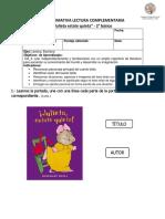 EVALUACIÓN DE LENGUAJE Y COMUNICACIÓN libro julieta estate quieta