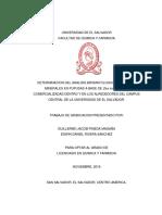 DETERMINACION DEL ANALISIS BROMATOLOGICO PROXIMAL Y MINERALES EN PUPUSAS A BASE DE Zea mays (MAIZ),