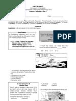 Exam Paper Peperiksaan Pertengahan Tahun  English Language Form 2.PAPER 1 with answer Tahun 2010