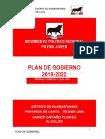 Plan de Gobierno Distrito de Huamantanga 2019-2022