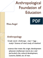 160208707 Anthropological Foundation of Education