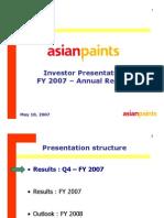 Analyst Presentation - FY2007