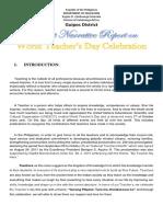 World Teachers Day Narrative Report 2018