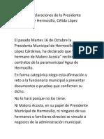 Posicionamiento de Juan Pablo Acosta Gutiérrez, hermano del exalcalde de Hermposillo sobre declaraciones de la actual residenta municipal de Hermosillo