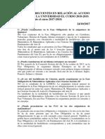 Preguntas Frecuentes en Relacion Al Acceso y Admision a La Universidad El Curso 2017 18