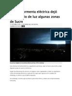 Intensa Tormenta Eléctrica Dejó Sin Servicio de Luz Algunas Zonas de Sucre