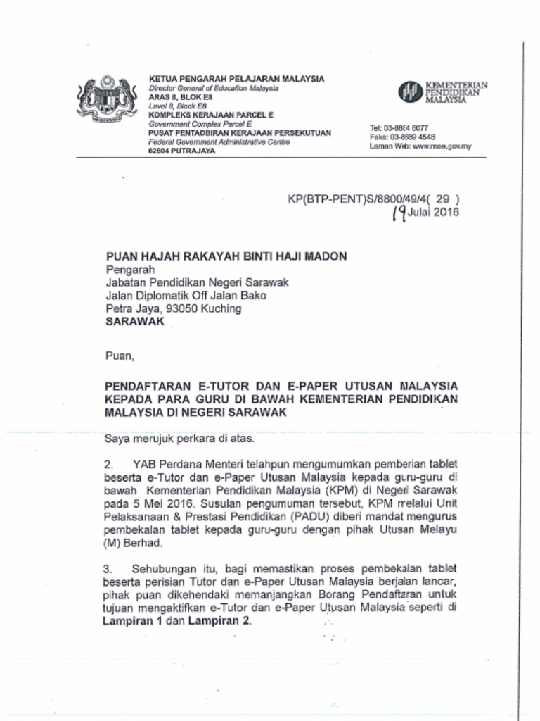 01 Surat Pendaftaran Etutor Dan Epaper Pdf