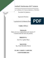 Índice de La Ley Reglamentaria Del Artículo 27 Constitucional en El Ramo Del Petróleo