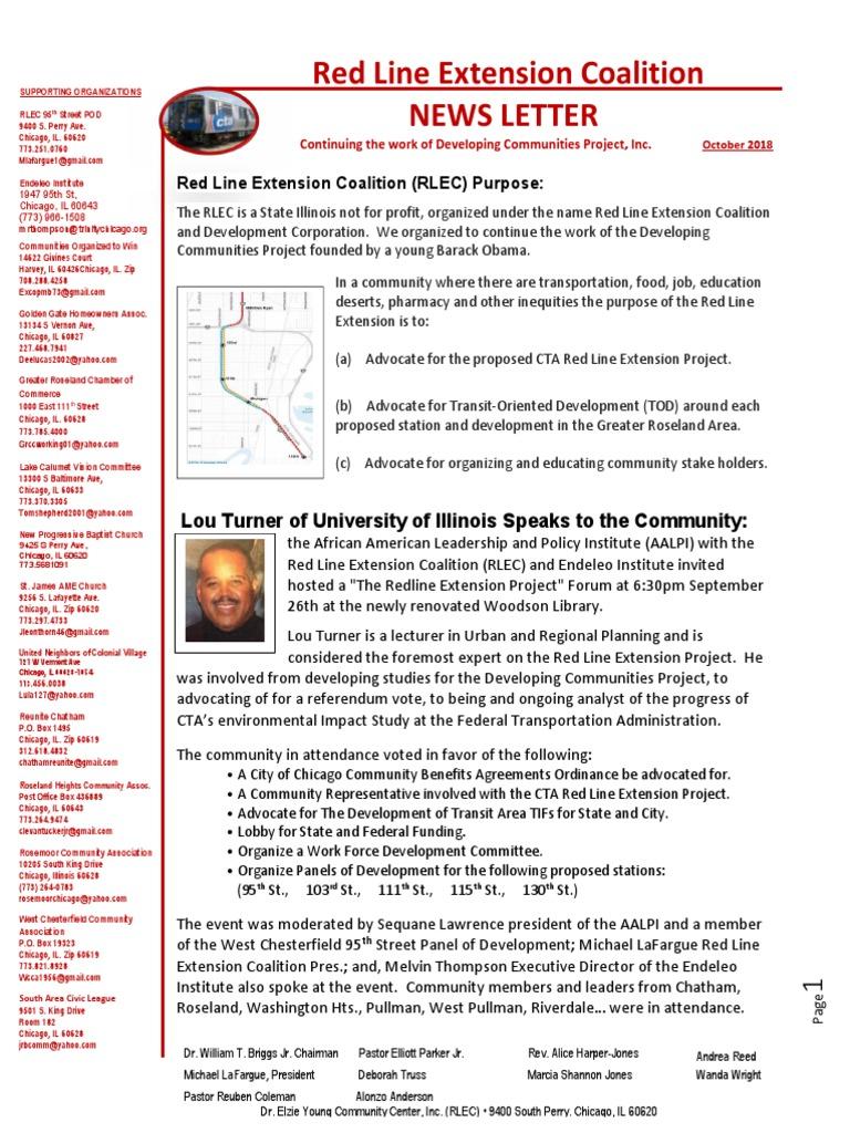 Red Line Extension Coalition Stationary Rlec News Letter October