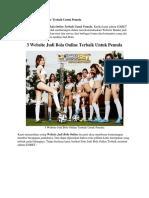 3 Website Judi Bola Online Terbaik Untuk Pemula