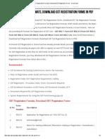 GST Registration Formats, Download GST Registration Forms - Direct Links