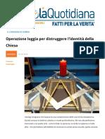 Operazione Loggia Per Distruggere L'identita Della Chiesa