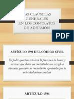Clausulas generales en contratos de adhesión