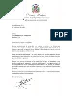 Carta de condolencias del presidente Danilo Medina a Mayra Segura viuda D'Oleo por fallecimiento de su esposo, Bolívar D'Oleo Montero