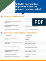 El flyer con carreras alternativas y universidades repartido por la Sunedu