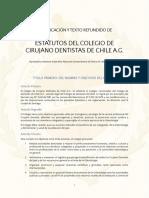 Propuesta Reforma Estatutos Colegio de Cirujano Dentista de Chile