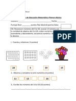 Prueba Matematica Primero Cerrillos