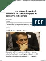 Após suposta compra de pacote de fake news, PT pede investigação da campanha de Bolsonaro