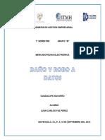 """DAÑOS Y ROBO A DATOS """"MERCADOTECNIA ELECTRONICA"""""""