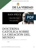 Doctrina Católica Sobre La Creación Del Mundo – Amor de La Verdad