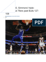 Embiid's 30, Simmons' Triple-double Lead 76ers Past Bulls 127-108