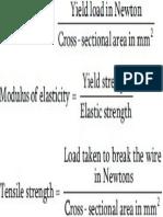 Yield Strength, Modulus of Elasticity, Tensile Strength Formulas