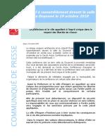 Communiqué Pref49 Et Mairie Angers - Appel à Rassemblement Salle Du Doyenné VPrefMairie