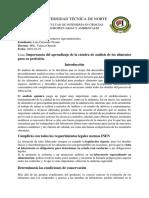 Importancia Del Aprendizaje de La Cátedra de Análisis de Los Alimentos Para Su Profesión.