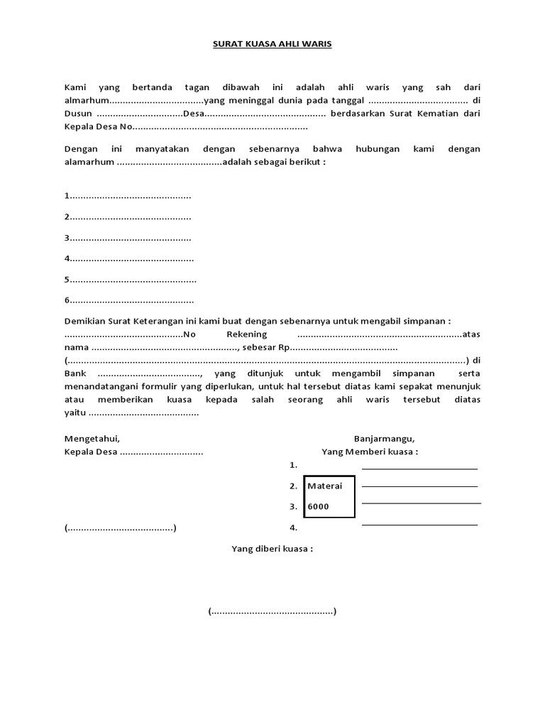 Contoh Surat Kuasa Ahli Waris Bank