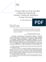 The Design Inference from Specified Complexity Defended by Scholars Outside the Intelligent Design Movement