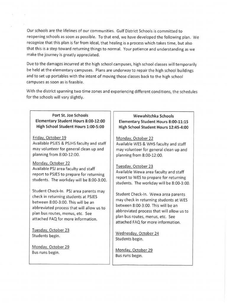 Gulf County Schools Opening Information