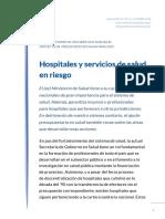 Informe 37 4º Parte- Hospitales y Servicios de Salud, En Riesgo- Oct 2018