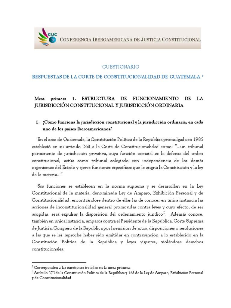 Respuestas De La Corte De Constitucionalidad De Guatemala