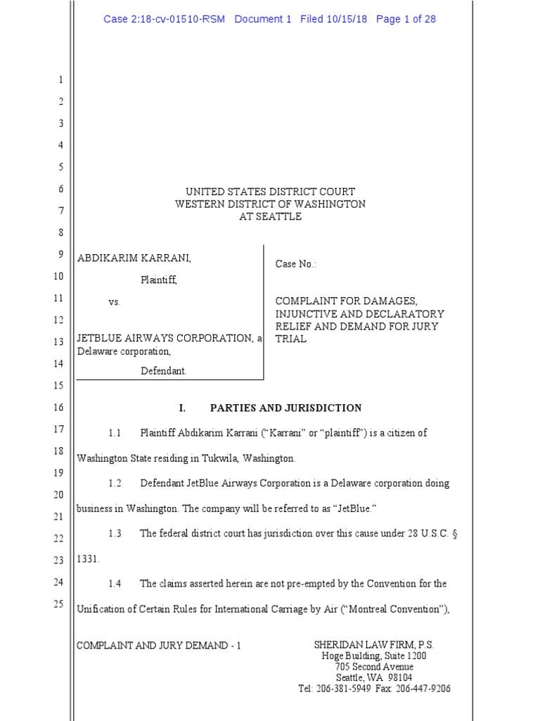 Jet Blue Restroom Lawsuit | Damages | Lawsuit