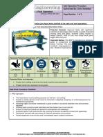 Sop Sheet Metal Shear Foot Operated
